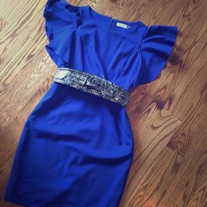 NWOT Calvin Klein blue belted dress